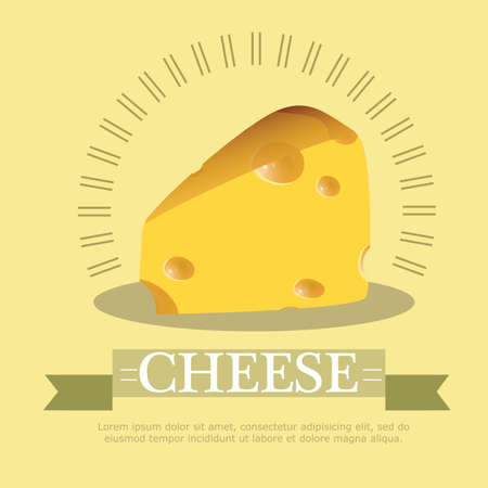 parmesan: Vector illustration Pieces of cheese on yellow background Illustration