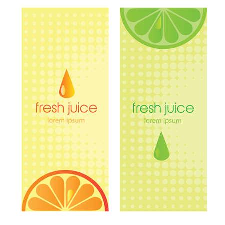 workpiece: Banners with stylized citrus fruit and splashes - lime and orange fresh juice Illustration