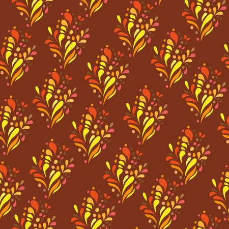 doodling: Orange ornament - seamless pattern - doodling style