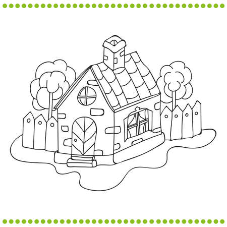 Black and white illustration of a house Vector coloring book  イラスト・ベクター素材