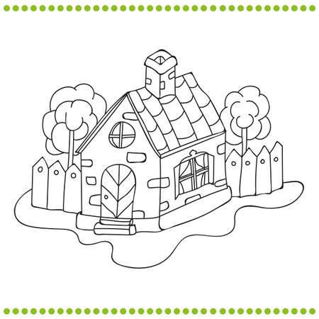 Estilizada Casa De Campo Con Un Libro Para Colorear Jardín ...