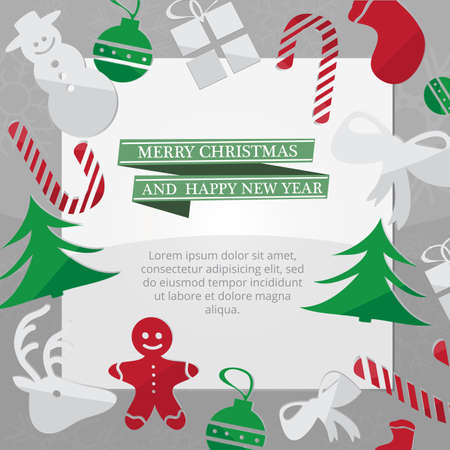 snow chain: Christmas card with Xmas decorations - green vector illustration