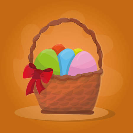 cartoon easter basket: Basket with Easter eggs on a orange background Illustration