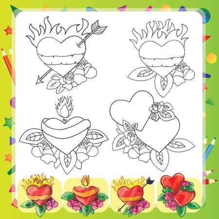 Cuore Tattoo Design - set Flash - libro da colorare