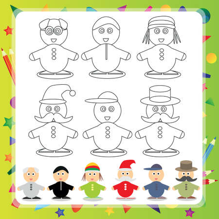cartoon singing: Funny cartoon character - Vector illustration Coloring book - Set