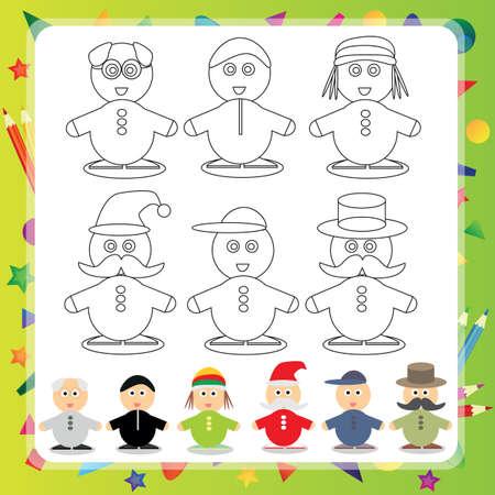 Funny cartoon character - Vector illustration Coloring book - Set
