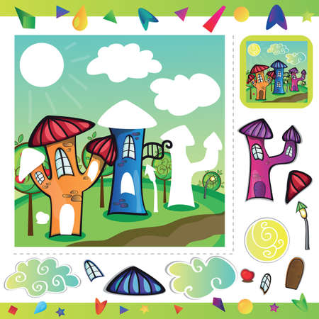 Cartoon city street with funny houses - cut and paste parts of the picture Illustration