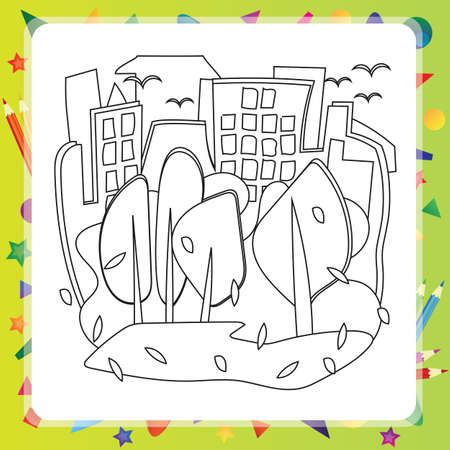 houses: Houses and trees - Autumn - vector coloring book