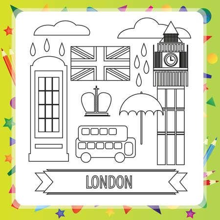 hello heart: Coloring book for children - London - vector illustration