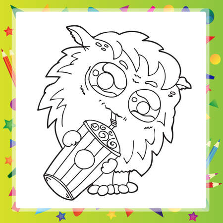 weirdo: Black and White Cartoon Illustration of Funny Monster  for Coloring Book