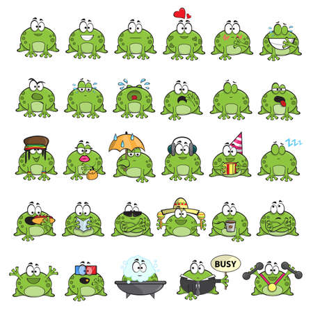 frog in love: Emotional cute frogs Cartoon character - vector set