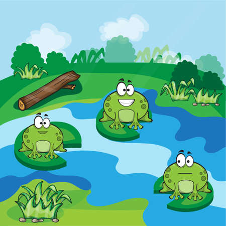 cattail: Cute little frogs having fun in the pond Illustration