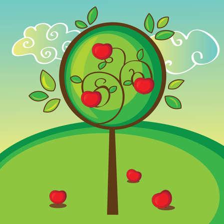 summer trees: illustration of apple tree on green bright background Illustration