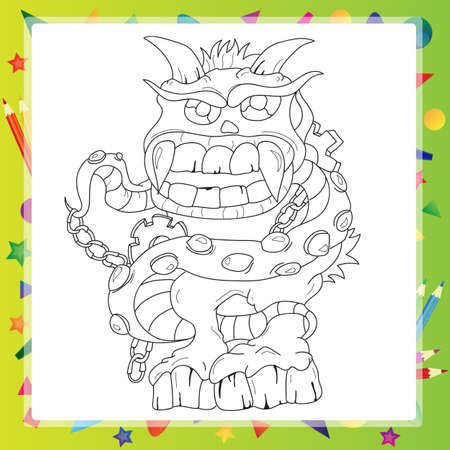 power giant: Coloring book - Monster cartoon character illustration Illustration