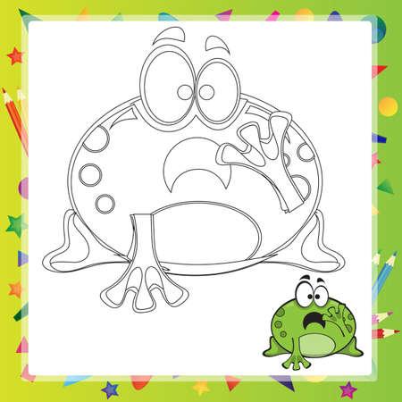 principe rana: ilustración de dibujos animados de la rana - Libro de colorante - vector