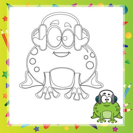 Ilustración Del Vector De La Rana Verde De Dibujos Animados - Libro ...