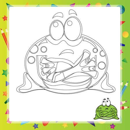 rana: illustration of Cartoon frog - Coloring book - vector Illustration
