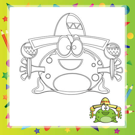 froggy: illustration of Cartoon frog - Coloring book - vector Illustration