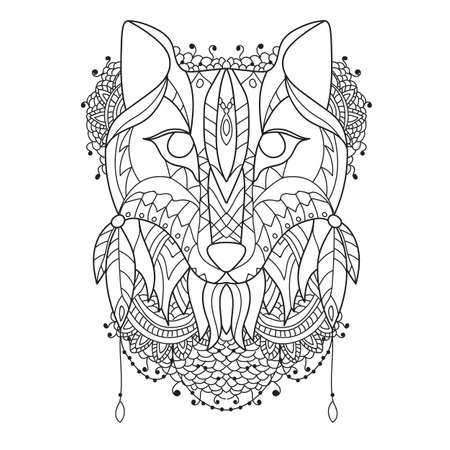 prairie dog: Fox Pattern style zentangl- Vector sketch for tattoo -Coloring