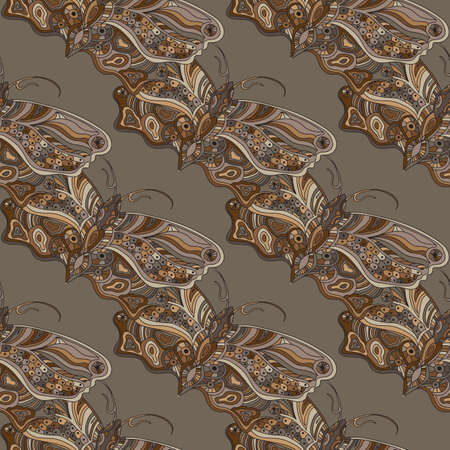 nocturnal animal: hand drawn illustration with butterfly - seamless pattern