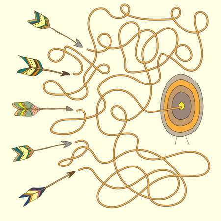 Arrow on target maze - Labyrinth for kids  イラスト・ベクター素材