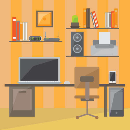 office space: Modern office interior in flat design. Interior office room. Office space. Vector illustration