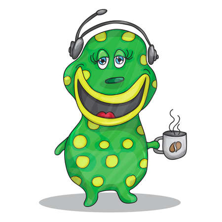 Fun Cartoon Character Phone Operator with a cup of hot coffee
