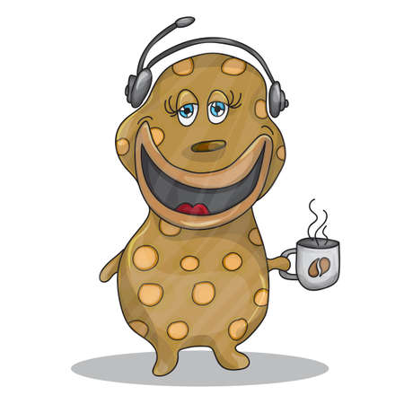 call centre girl: Fun Cartoon Character Phone Operator with a cup of hot coffee