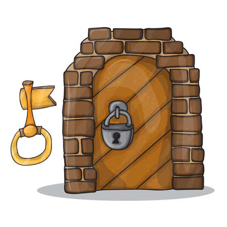 Vintage key and the door of the castle - vector illustration isolated on white background, cartoon design