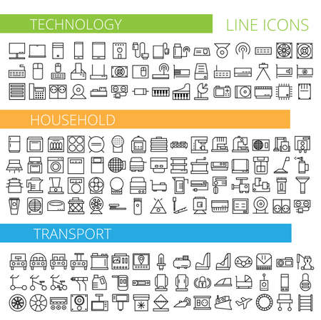icons: Vector illustration of thin line icons for technology household transport Illustration