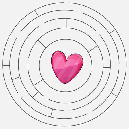 Love heart maze or labyrinth valentines day Illustration