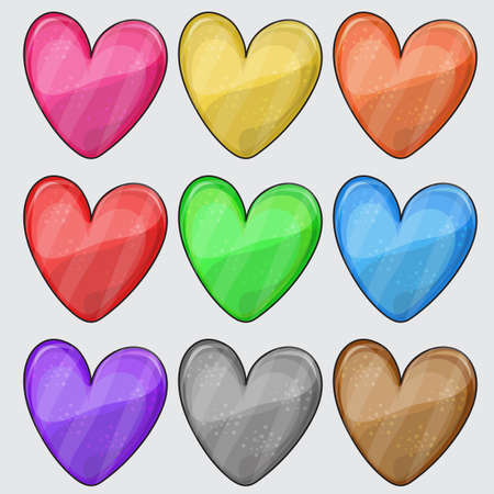 Nine matted color heart web buttons on white - vector set Illustration