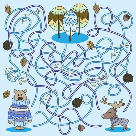 Cartoon of Education - Game for Preschool Children. Vector Illustration