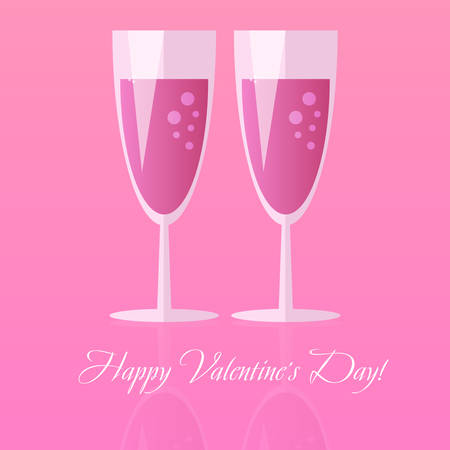 Two glasses of champagne for Saint Valentines day isolated on pink background