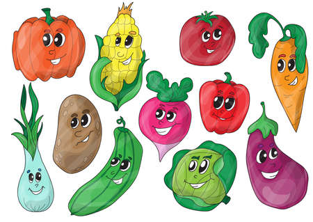 Funny Various Cartoon Vegetables Illustration