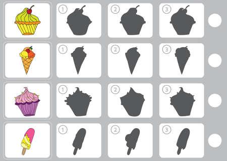 la sombra del partido - Hoja de trabajo para la educación Ilustración de vector