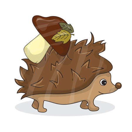 funny baby: Vector cartoon image of a cute brown hedgehog with white-brown mushroom