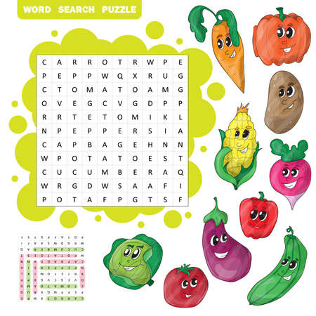Vector education game for children about vegetables. Word search puzzle Illustration