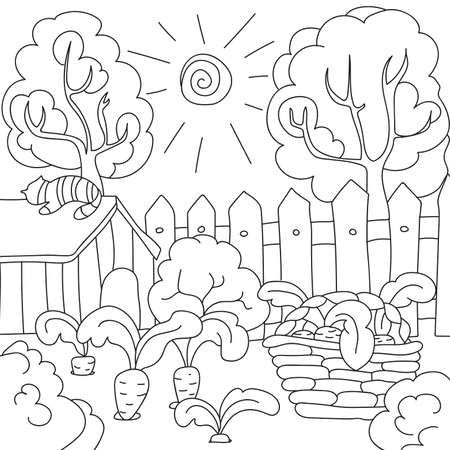 Vector Colorear Libro Zanahorias En El Jardín Ilustraciones ...