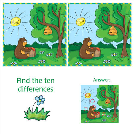 conundrum: Cartoon Vector Illustration of Finding Differences
