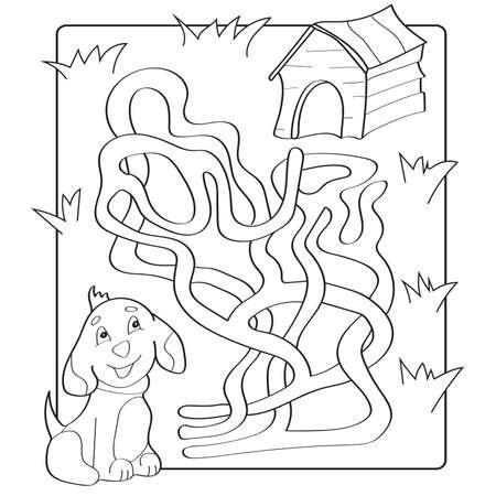 Hilf Welpen, Pfad Zu Seinem Haus Zu Finden. Labyrinth. Labyrinth ...