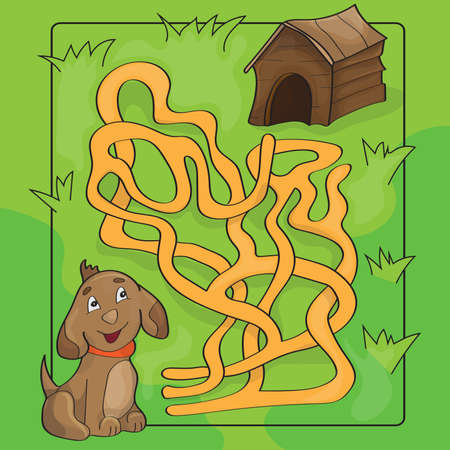 Cartoon Vector Illustration of Education Maze or Labyrinth Game for Preschool Children with Funny Dog and Doghouse Illustration