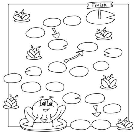 pathfinder: Game template with frogs in field background illustration. Vector coloring book pages for children Illustration