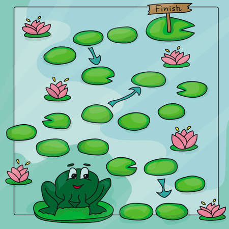 Game template with frogs in field background illustration Stock Illustratie