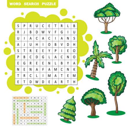 Alberi a tema zigzag parola di ricerca puzzle - risposta inclusa Vettoriali