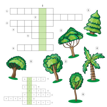 puzzle kids activity sheet - Crossword with trees- educational game, crossword for children. Learning vocabulary