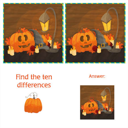 Find the ten differences between the two images with pumpkins