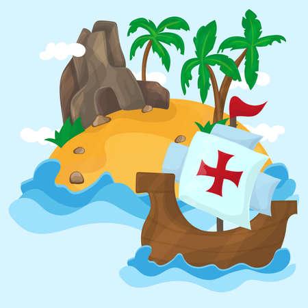 Los barcos de Cristóbal Colón y la isla tropical con palmeras en el océano