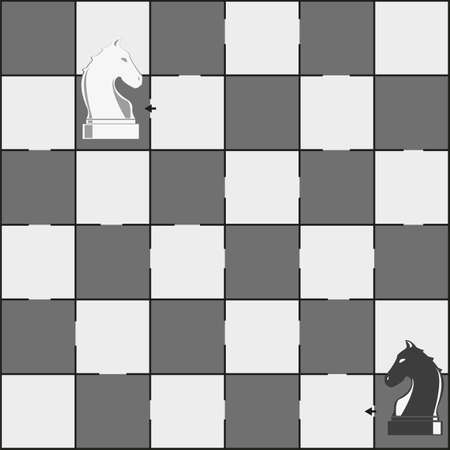 Chess board and horses pieces - grey vector illustration - maze game for children Иллюстрация