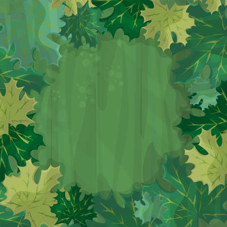 Frame for text decoration. Enchanted forest with green maple leaf - cartoon